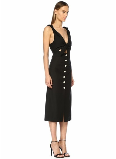 Alice McCall Nara V Yaka Düğüm Detaylı Midi Elbise Siyah